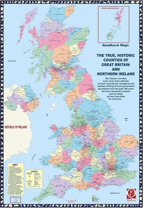 The True, Historic Counties of Great Britain and Northern Ireland Laminated  Wall Map