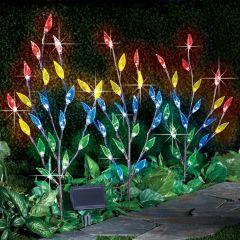 Leaf Branch Solar Garden Lights - Set of 3