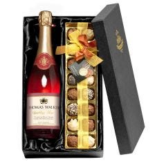 Personalised Sparkling Rosé Wine & Chocolates