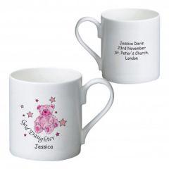 Personalised Teddy & Stars Pink Goddaughter Bone China Mug