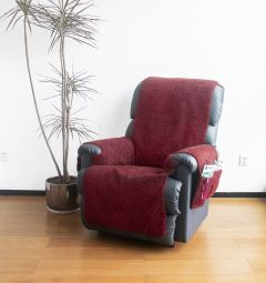 Fleece Recliner Cover with Pockets - Burgundy