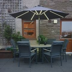 Barbados Cantilever Parasol 300x300cm Square with 24 Solar LED Lights.