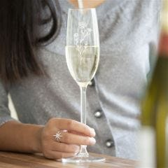 Personalised Birth Flower Crystal Champagne Glass