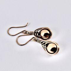 Copper Bead Wire Wrapped Earrings