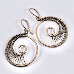 Copper Wire Woven Hoop Earrings
