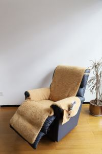 Fleece Recliner Cover with Pockets - Camel