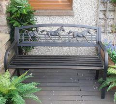 Galloping Horses Garden Bench