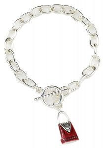Handbag Charm Bracelet Silver-Plated T-Bar Bracelet with Enamelled Handbag Charm