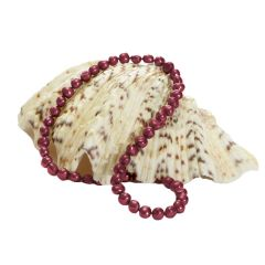 New Cranberry Pearl Necklace On Knotted Silk With Sterling Silver Lobster Clasp