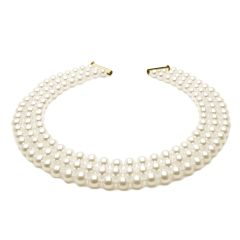 Triple Strand Pearl Necklace of Individually Selected Pearls on Knotted Silk