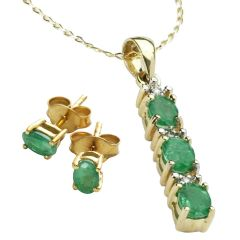 Emerald And Diamond Gold Plated Silver Stick Pendant Necklace & Earring Set