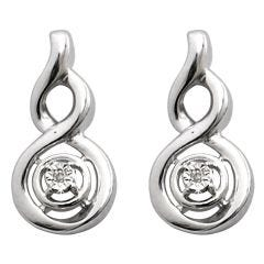 Sterling Silver Diamond Swirl Earrings  With Stud Fastening Butterfly Backs