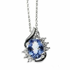 Blue Oval AA Grade Tanzanite and White Topaz Pendant Necklace Set in 925 Sterling Silver