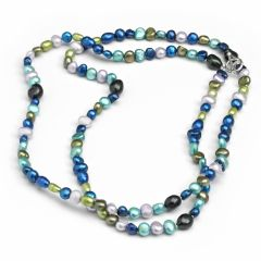 BNWT 2 Row Shades of Blue Multi Coloured Freshwater Cultured pearl Necklace