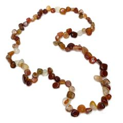 Red Agate 22 Inch Claspless Pear Bead Necklace