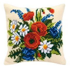 Cross Stitch Cushion Kit: Poppies and Daisies