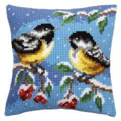 Cross Stitch Cushion Kit: Blue Tits in the Snow