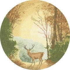 John Clayton Counted Cross Stitch Circle Kit Autumn Light Stag