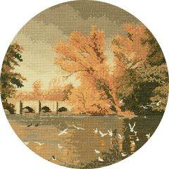 John Clayton Counted Cross Stitch Circle Kit Autumn Reflections Bridge
