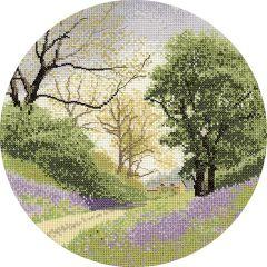 John Clayton Counted Cross Stitch Circle Kit Bluebell Lane