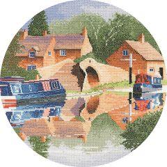 John Clayton Counted Cross Stitch Circle Kit Canal Reflections