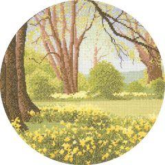 John Clayton Counted Cross Stitch Circle Kit Daffodil Wood