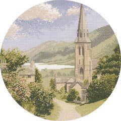 John Clayton Counted Cross Stitch Circle Kit Lakeside Village