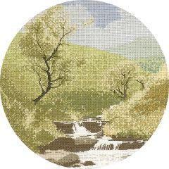 John Clayton Counted Cross Stitch Circle Kit Mountain Stream