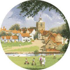 John Clayton Counted Cross Stitch Circle Kit Sleepy Village