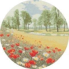 John Clayton Counted Cross Stitch Circle Kit Summer Meadow