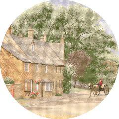 John Clayton Counted Cross Stitch Circle Kit Village Lane