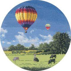 John Clayton Counted Cross Stitch Circle Kit Up and Away Balloons