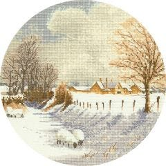 John Clayton Counted Cross Stitch Circle Kit Winter Sheep