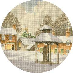 John Clayton Counted Cross Stitch Circle Kit Winter Village