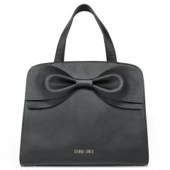 Sienna Jones The Marina Bow Leather Hand Bag in Black