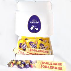 Personalised Mini Egg, Toblerone and Cadbury Chocolate Easter Hamper