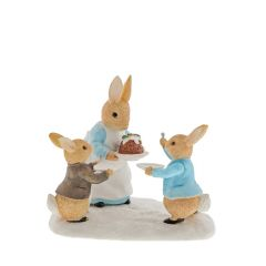 Mrs Rabbit™ with a Christmas Pudding Figurine