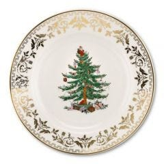 Christmas Tree Gold Salad Plates - Set of 4