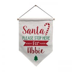 Personalised Santa Stop Here Hanging Banner