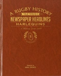 Personalised Harlequins Rugby Newspaper Book