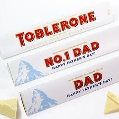 Personalised Happy Father's Day White Chocolate Toblerone 360g