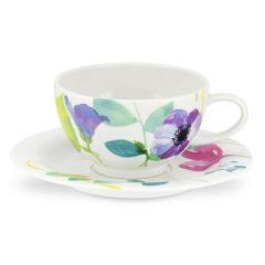 Water Garden Breakfast Cup & Saucer Set of 4