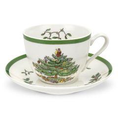 Christmas Tree Cup and Saucer - Set of 4