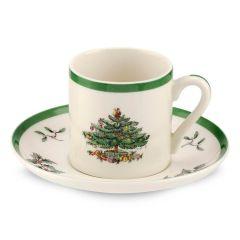 Christmas Tree Espresso Cup & Saucer - Set of 4