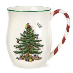 Christmas Tree Mug with Peppermint Handles - Set of 4