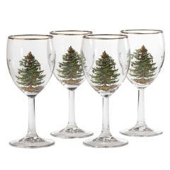Spode Christmas Tree Wine Glass Set of 4