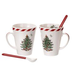 Boxed set of two Christmas Tree Peppermint Mugs & Spoons