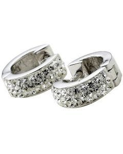 BN Womens Crystal Studded Silver Hoop Earrings With Hinge & Notch Post Fastening