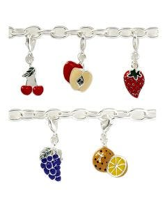 New Tutti Fruiti Silver-Plated T-Bar 19cm Bracelet with 5 Charms And A T-Bar Clasp