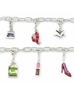 New Born To Shop Silver-Plated T-Bar 19cm Bracelet with 6 Charms & A T-Bar Clasp
